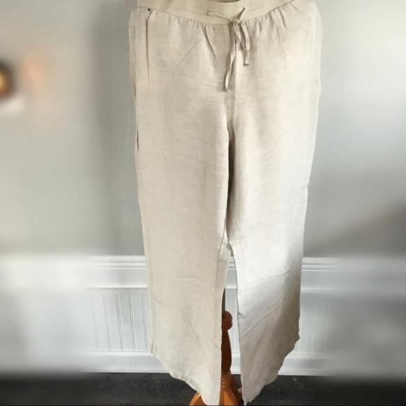 Lane Bryant SIZE 26 Casual Dress Pants WHITE Classic Linen Rayon Trouser NEW